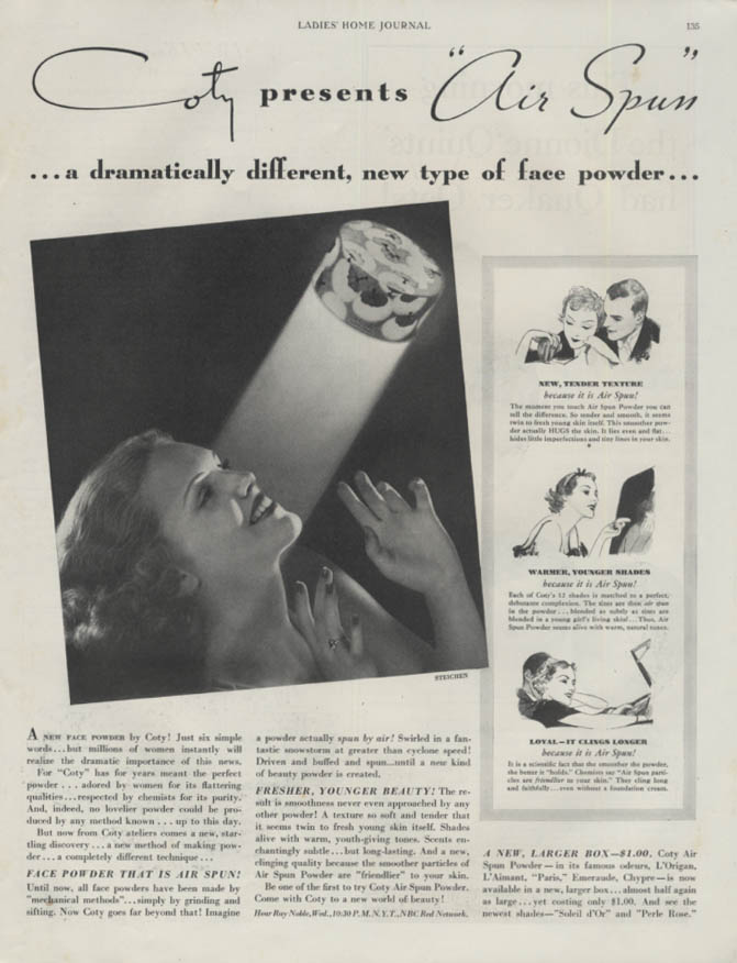 Coty presents Air Spun Face Powder ad 1935 Steichen photo