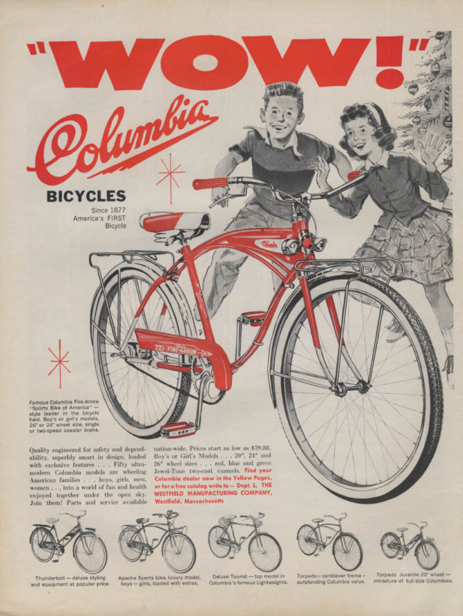 WOW! Columbia Fire-Arrow Bicycle for Christmas ad 1959 L