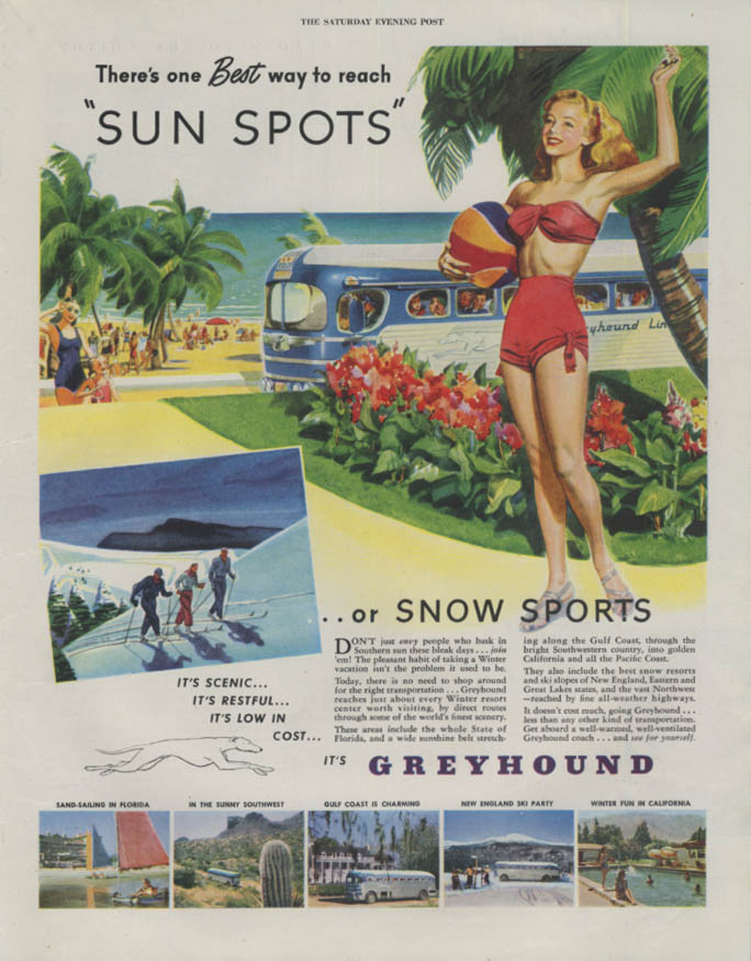 Best way to reach Sun Spots Greyhound Bus ad 1947 2-piece swimsuit P