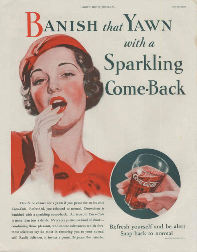 Banish that Yawn with a Sparkling Comeback Coca-Cola ad 1933 LHJ