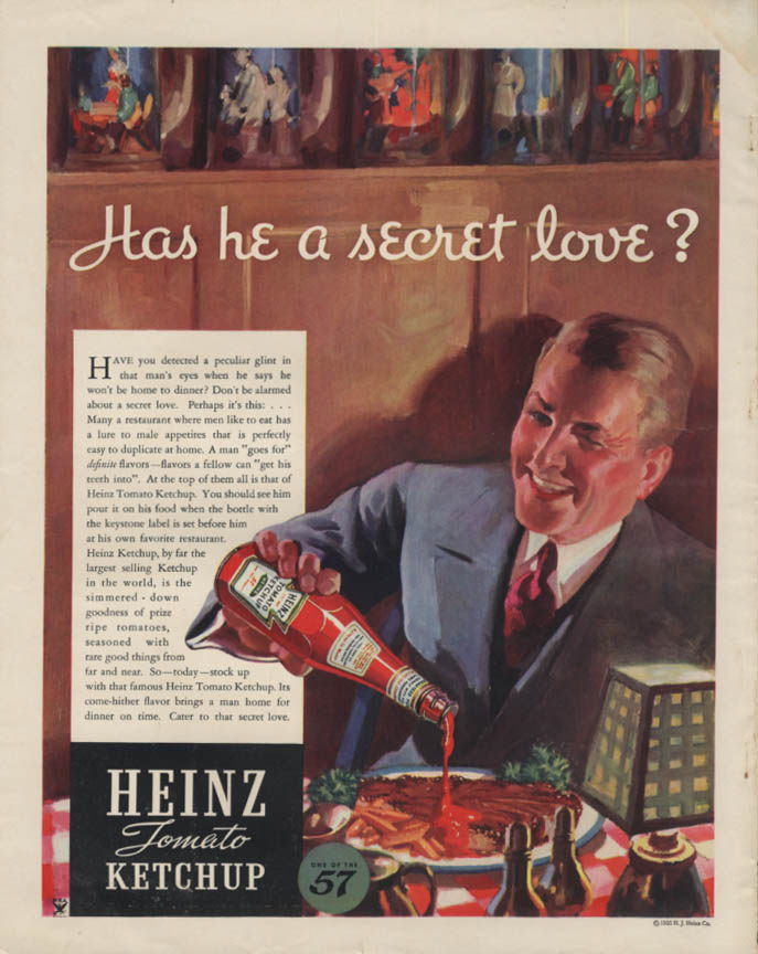 Image for Has he a secret love? Heinz Ketchup ad 1935 Del