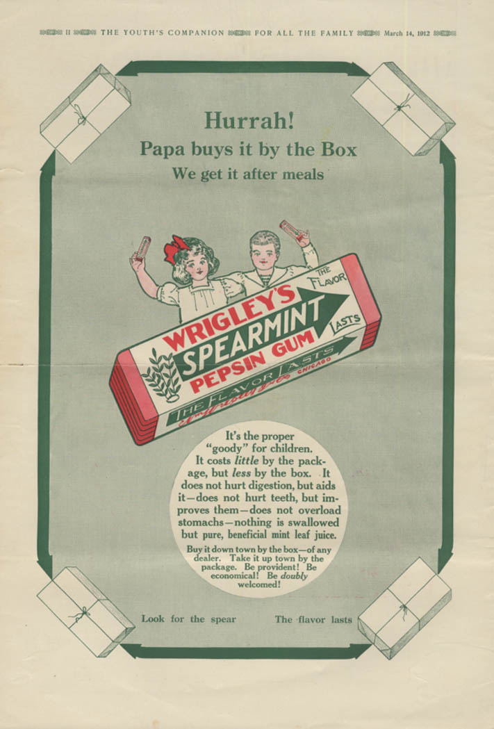 Image for Hurrah! Papa buys it by the Box Wrigley's Spearmint Gum ad 1912