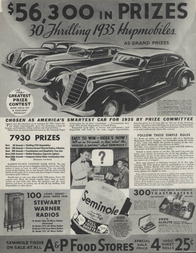 30 Thrilling Hupmobiles Grand Prizes A&P Foor Stores Contest ad 1935