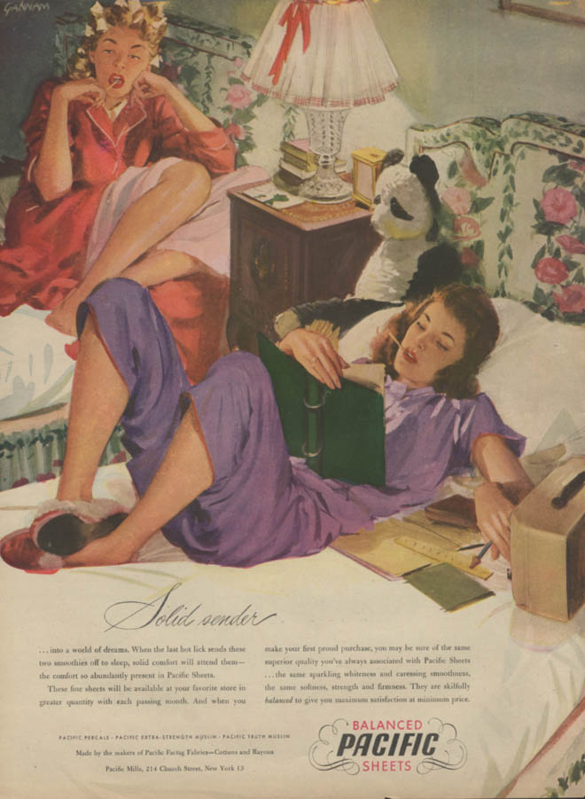 Solid sender Pacific Sheets ad 1946 girls in pajamas dorm room Gannam art L