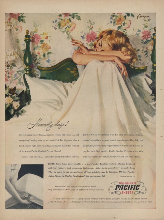 Heavenly daze! Pacific Sheets ad 1949 engaged gal in bed Gannam art L