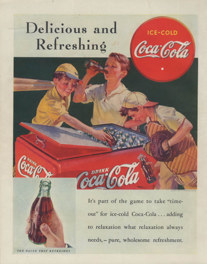Coca-Cola kid ballplayers at cooler / Greyhound Bus Schroeder pin-up ad 1938
