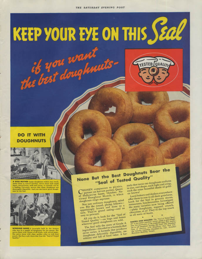 Image for Keep Your Eye on Tested Quality Seal if you want the best Doughnuts ad 1937 P