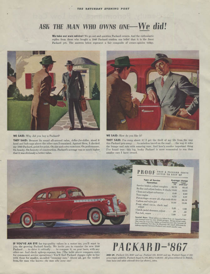 Ask the man who owns one - We did! Packard 110 Coupe ad 1940 P