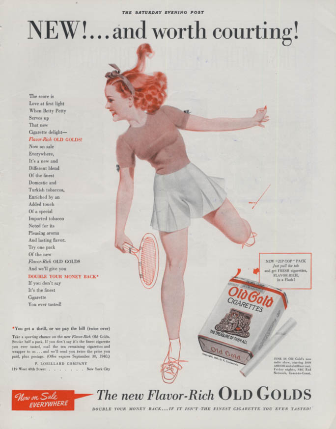 Worth Courting Old Gold Cigarettes Petty girl / Packard Air-Cooled ad 1940