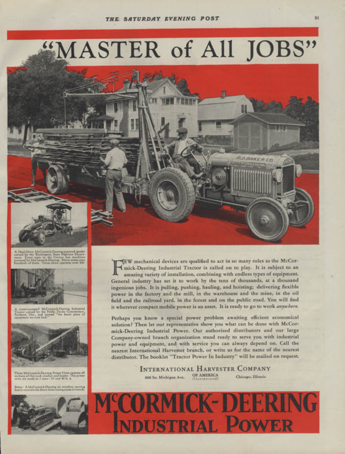 Image for Master of All Jobs McCormick-Deering Industrial Tractor ad 1930 P