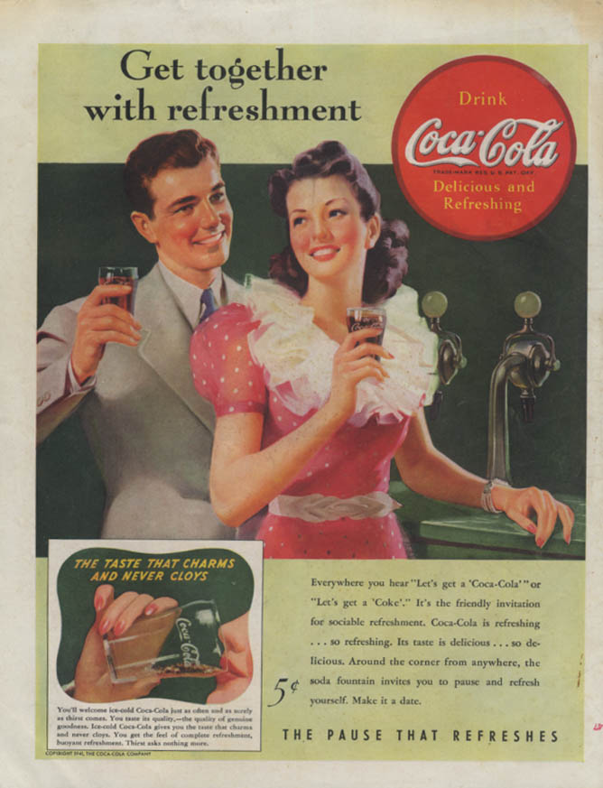 Get together with refreshment Coca-Cola ad 1941 soda fountain