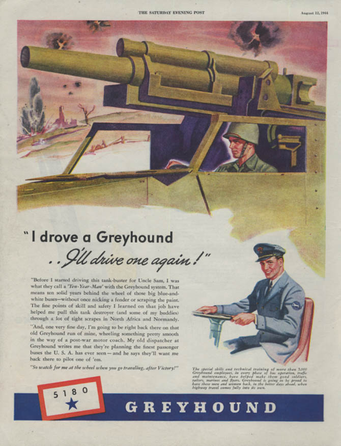 Image for I drove a Greyhound Bus I'll drive one again ad 1944 Tank-buster P