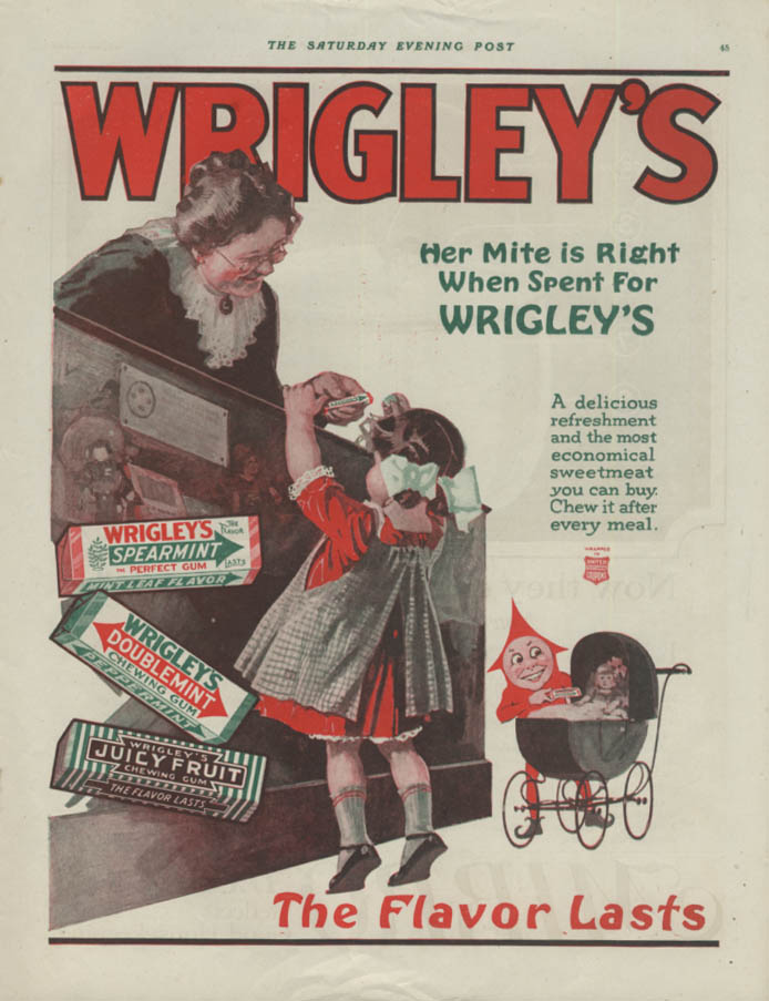 Her Mite is Right When Spent for Wrigley's Gum ad 1918 P