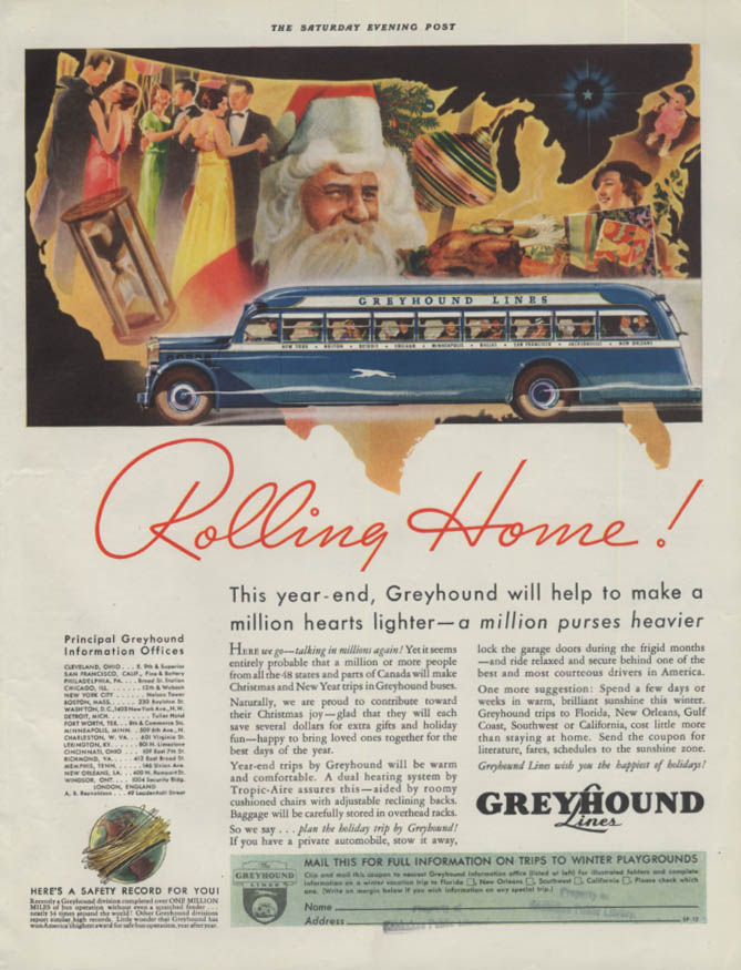 Rolling Home! Greyhound Bus will help make a million hearts lighter ad 1934 P