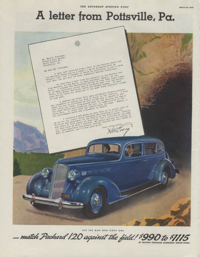 A letter from Pottsville PA. Packard 120 Sedan ad 1936 P