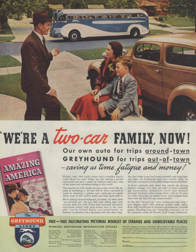 We're a two-car family now! Greyhound Bus ad 1936 P