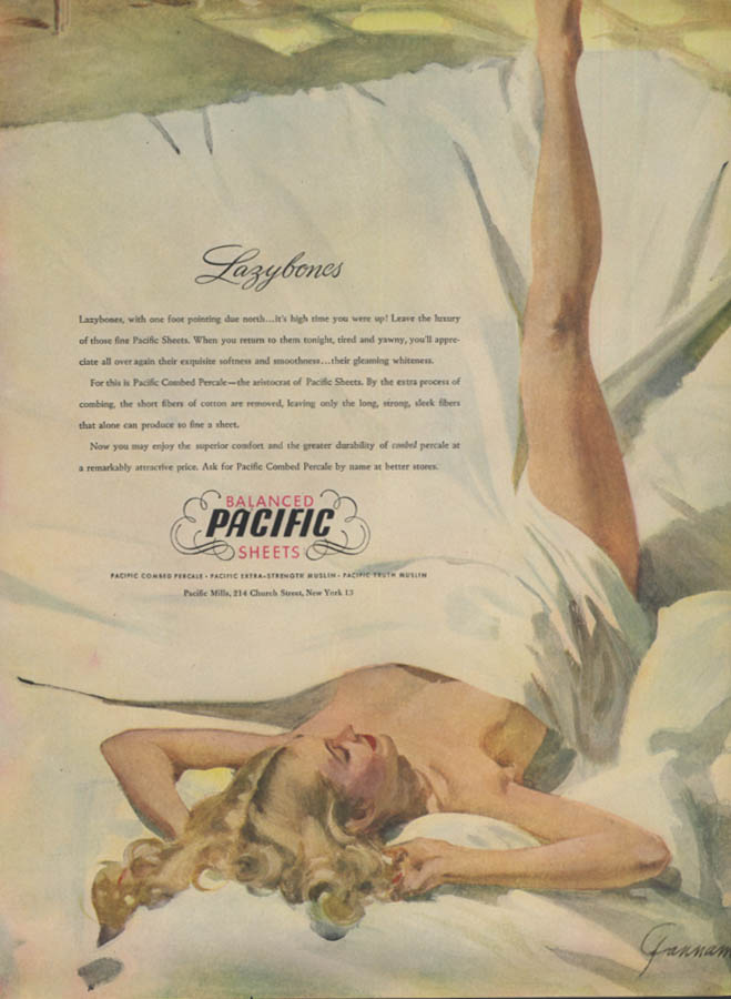 Image for Lazybones Pacific Sheets ad 1947 Gannam pin-up nude under the sheet