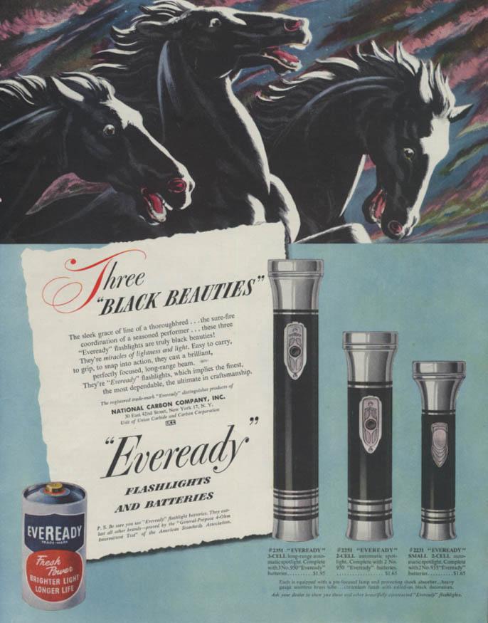 Three Black Beauties Eveready Flashlights & Batteries ad 1948 SEP