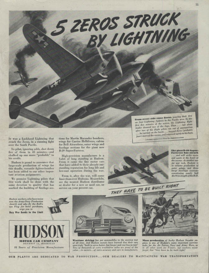 5 Zeros struck by Lightning Hudson Lockheed P-38 ad 1944 SEP