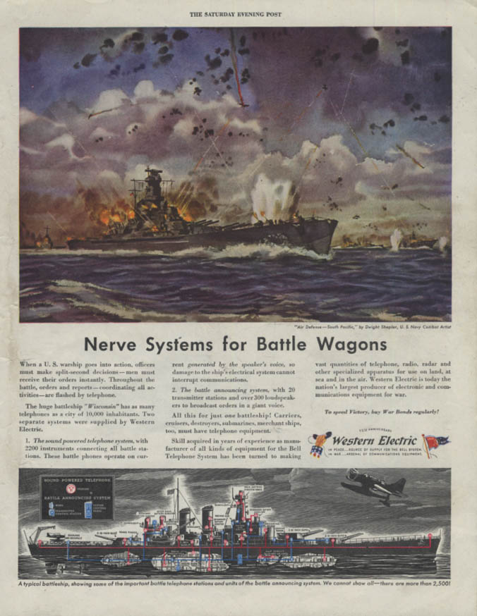 Nerve Systems for Battle Wagons Western Electric USS Wisconsin ad 1944 SEP