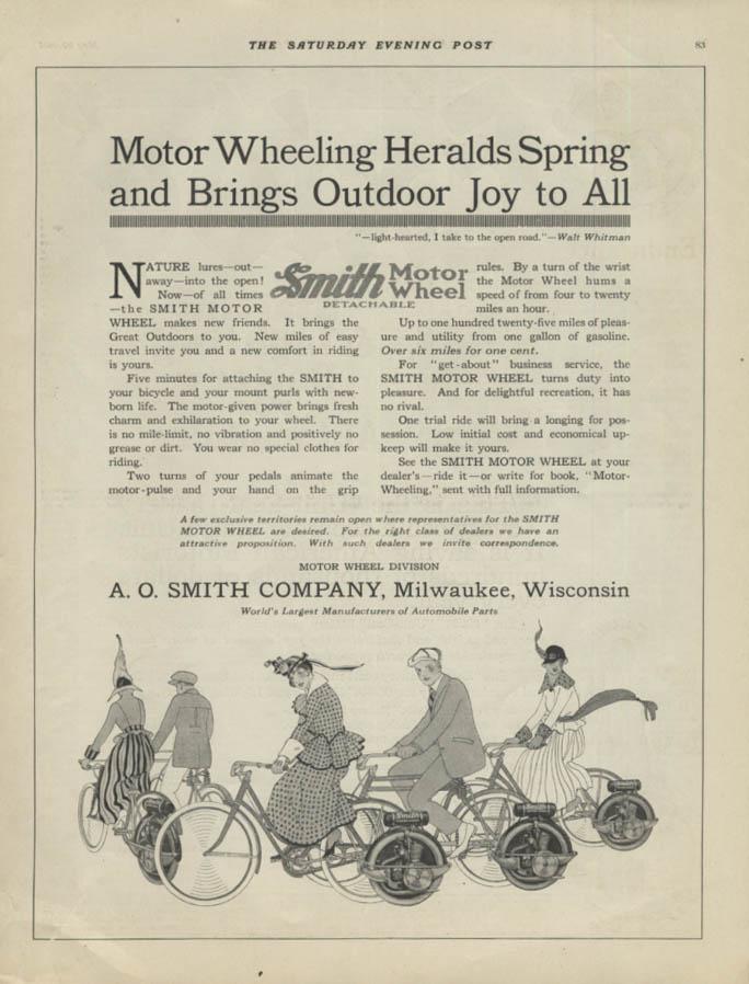 Motor Wheeling Heralds Spring Smith Motor Wheel for Bicycles ad 1916 SEP