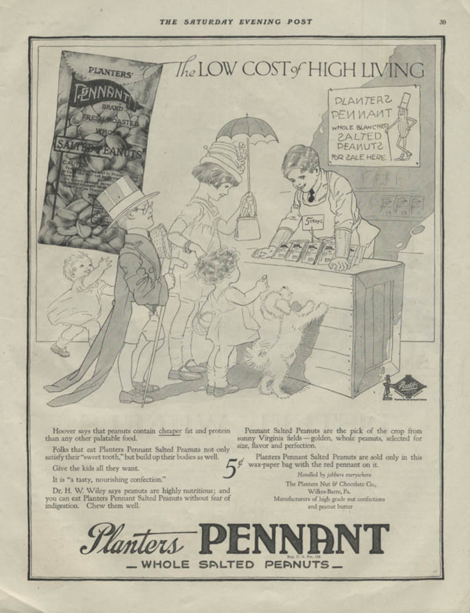 Image for Low Cost of High Living Planters Pennant Peanuts ad 1918 SEP