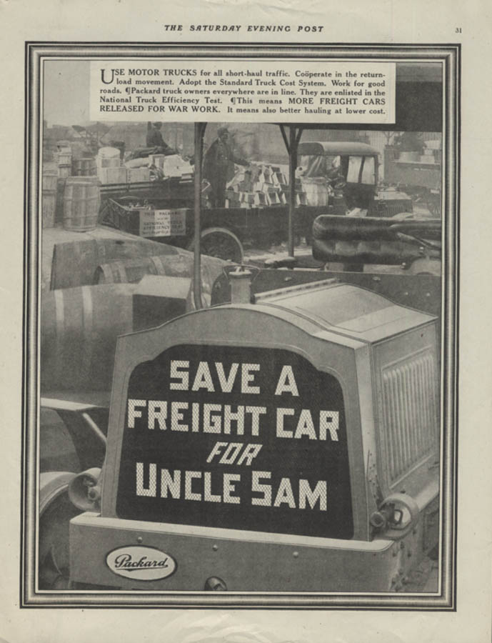 Save a Freight Car for Uncle Sam Packard Motor Trucks ad 1918 SEP
