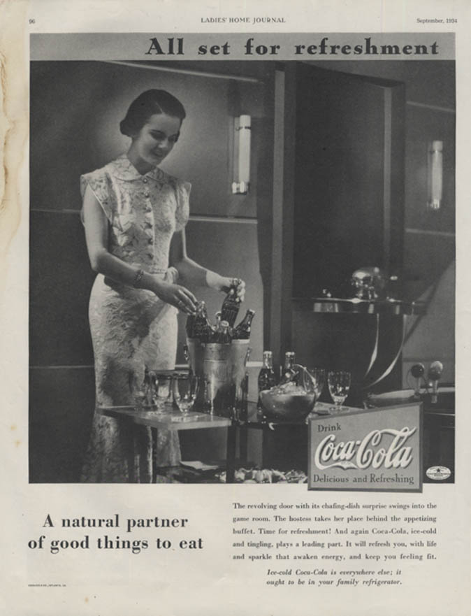 All set for refreshment Coca-Cola natural partner of good things to eat ad 1934