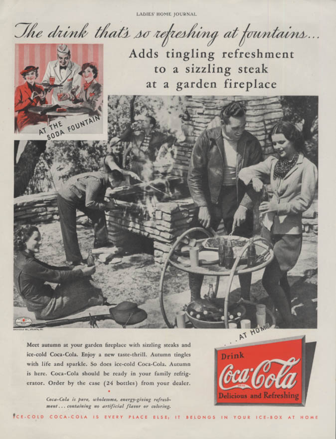 Adds tingling refreshment to sizzling steak Coca-Cola ad 1935 LHJ