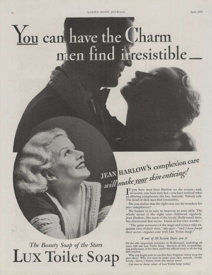 Charm men find irresistible Jean Harlow for Lux Toilet Soap ad 1933 LHJ