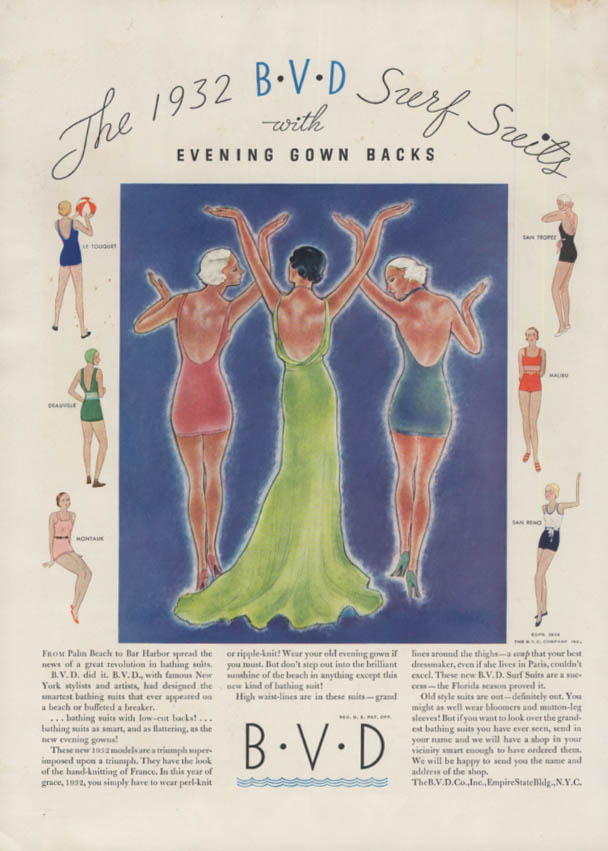 The 1932 B-V-D Surf Suits swimsuits with evening gown backs ad 1932 HB