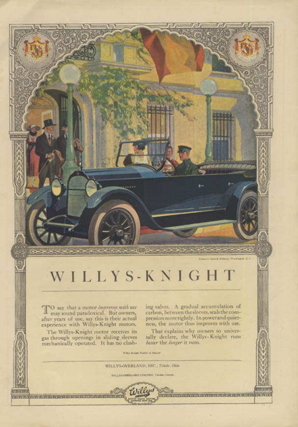 Image for To say that a motor improves with use Willys-Knight ad 1920 Spanish Embassy DC T