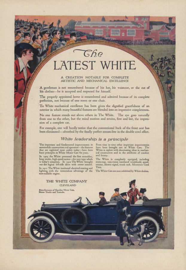 A Creation Notable for Excellence White Motor Car ad 1914 1915 CL