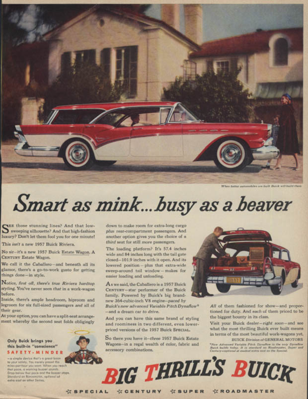 Smart as mink busy as a beaver Buick Caballero Estate Wagon ad 1957 BHG