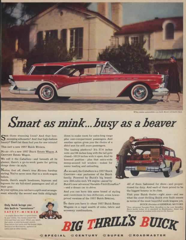 Smart as mink busy as a beaver Buick Caballero Estate Wagon ad 1957 BHG
