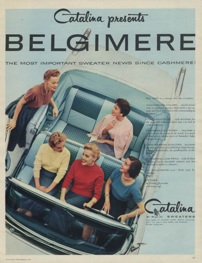 Catalina presents Belgimere Sweaters ad 1954 Buick Skylark