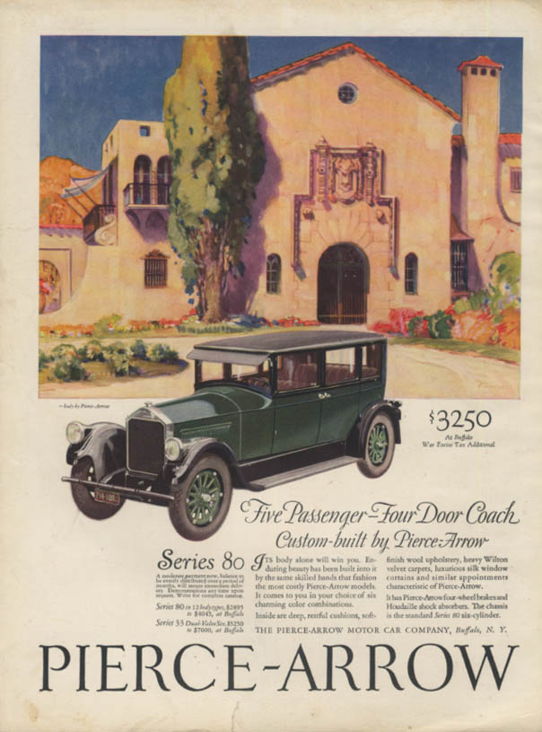 Five Passenger Four Door Coach Pierce-Arrow Series 80 ad 1926 1927 H&G