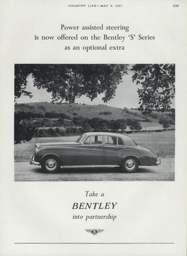 Power assisted steering now offered on Bentley S Sedan ad 1957