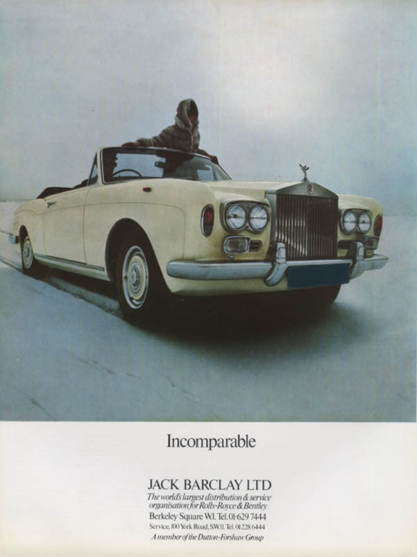 Imcomparable. Rolls-Royce Convertible Jack Barclay ad 1971