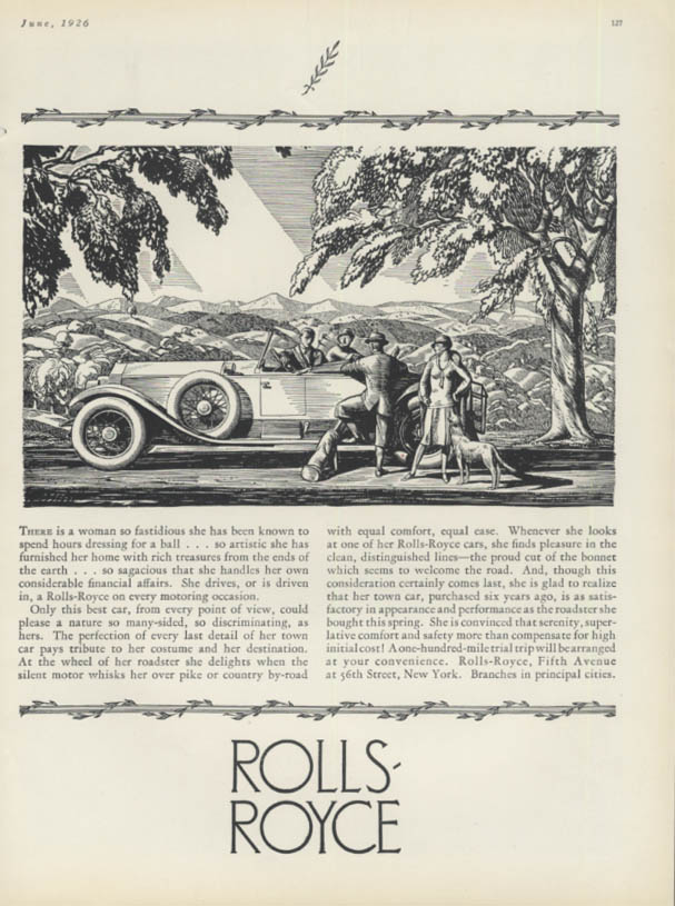 A woman so fastidious Rolls-Royce Roadster ad 1926 H&G