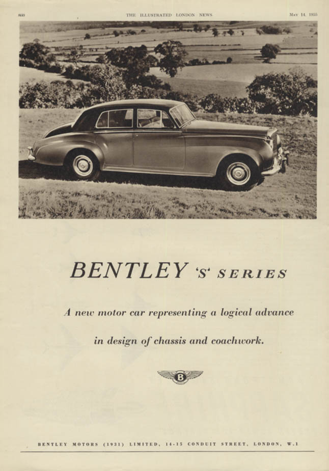 A new motor car representing logical advance Bentley S Series ad 1955