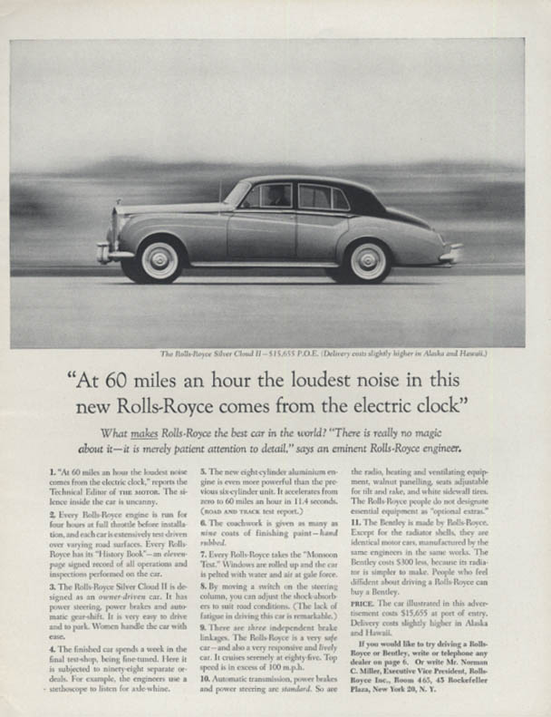 At 60 miles an hour the loudenst noise Rolls-Royce Silver Cloud II ad 1961 R