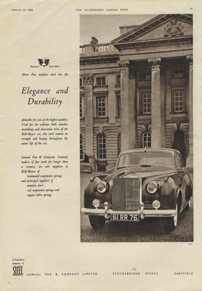 Elegance & Durability Rolls-Royce Silver Fox Stainless Steel ad 1958