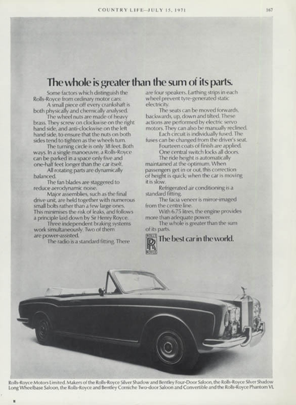 Image for The whole is greater than the sum of its parts Rolls-Royce Corniche ad 1971