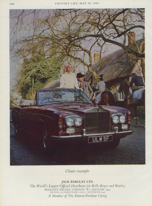 Classic example - Rolls-Royce Convertible Jack Barclay ad 1969