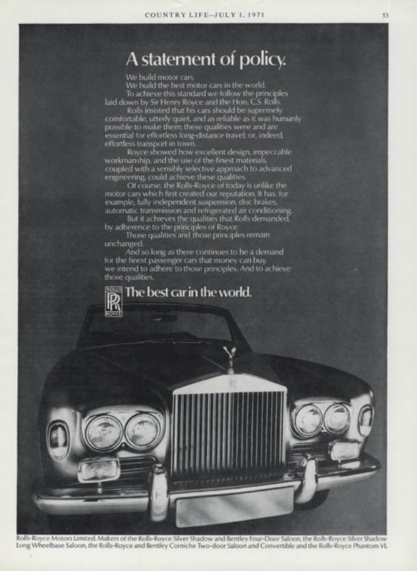 A statement of policy Rolls-Royce Silver Shadow ad 1971
