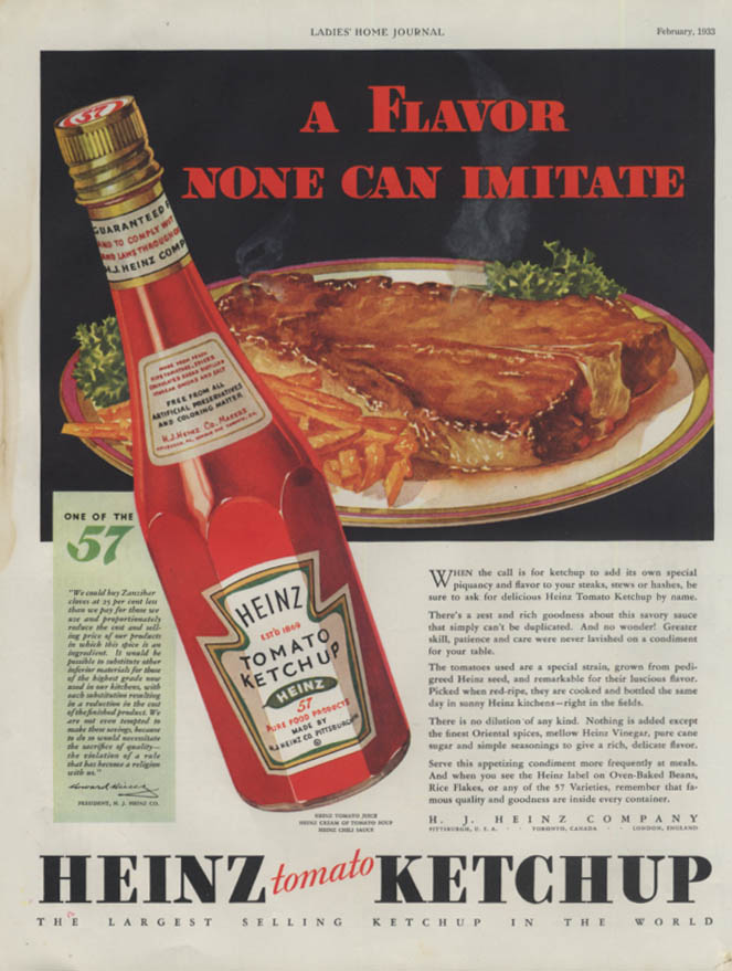 A Flavor None Can Imitate - Heinz Ketchup ad 1933 LHJ
