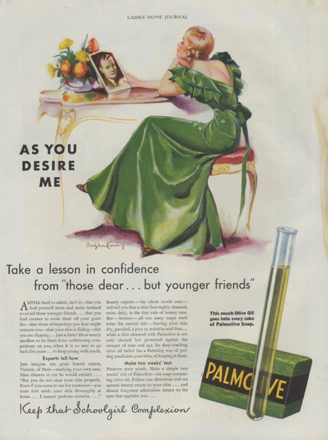 As You Desire Me Palmolive Soap confidence ad 1933 Bradshaw Crandell pretty girl