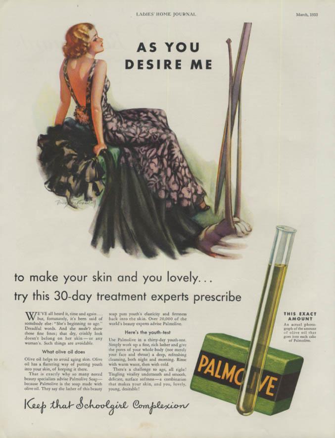 As You Desire Me Palmolive Soap treatment ad 1933 Bradshaw Crandell pretty girl