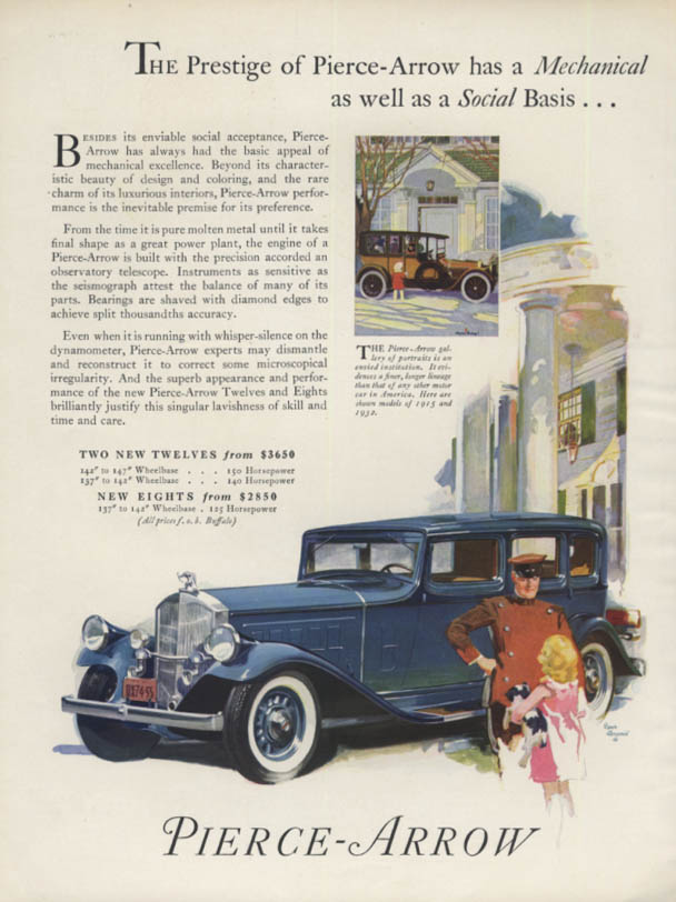 Prestige has a Mechanical as well as Social basis Pierce-Arrow ad 1932 H&G